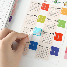 New 2018 calendar stickers notebook planner decorative sticker mini calendar label index bookmark Kawaii stationery 2 pcs/pack(China)
