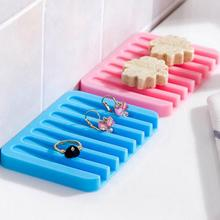 u-hoMEy Bathroom Silicone Flexible Soap Dishes Storage Holder Soapbox Plate Tray Drain Creative Bath Tools(China)