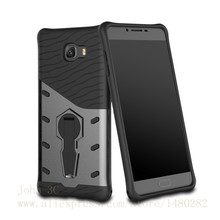 TopArmor For Samsung Galaxy C9 Pro Case Shock proof 360 swivel Stand Netted heat dissipation Armor Anti-knock Phone Case Cover(China)
