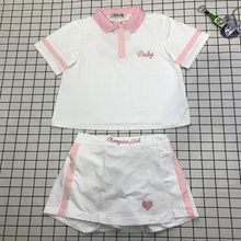 Harajuku soft sister kawaii cute lolita pink heart champion girl baby letter embroidery polo tshirt shorts skirts sets YQ-350