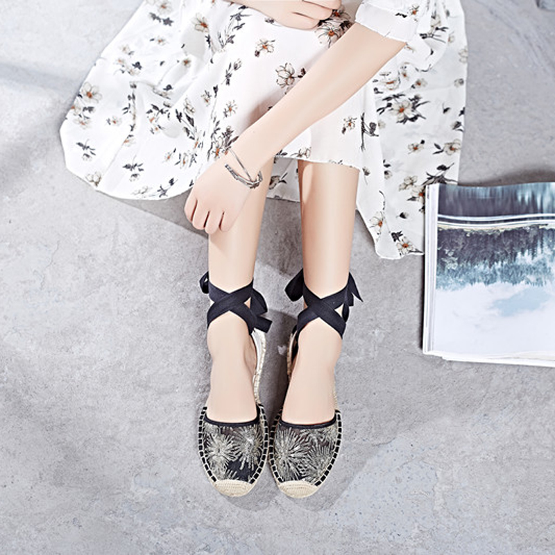 Canvas Summer Women's Espadrille Sandals Flats Ankle Strap Hemp Bottom Fisherman Women Shoes For 2018 SpringAutumn Women Loafer (24)