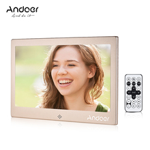 "Andoer 10"" LED Digital Photo Frame 720P Video/Music/Calendar/Clock/TXT Player 1024 * 600 Resolution Metal Frame w/Remote Control(China)"