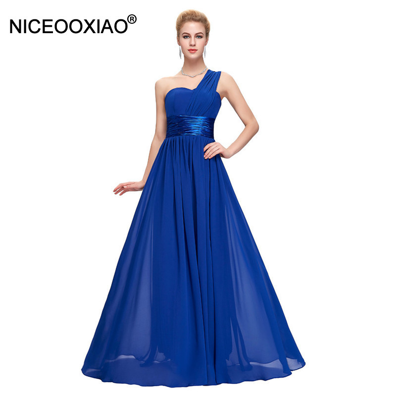 NICEOOXIAO 2018 Long Bridesmaid Dress One Shoulder Chiffon For Women Dress Elegant Fashion Purple Blue Dress Robe De Soiree 68(China)