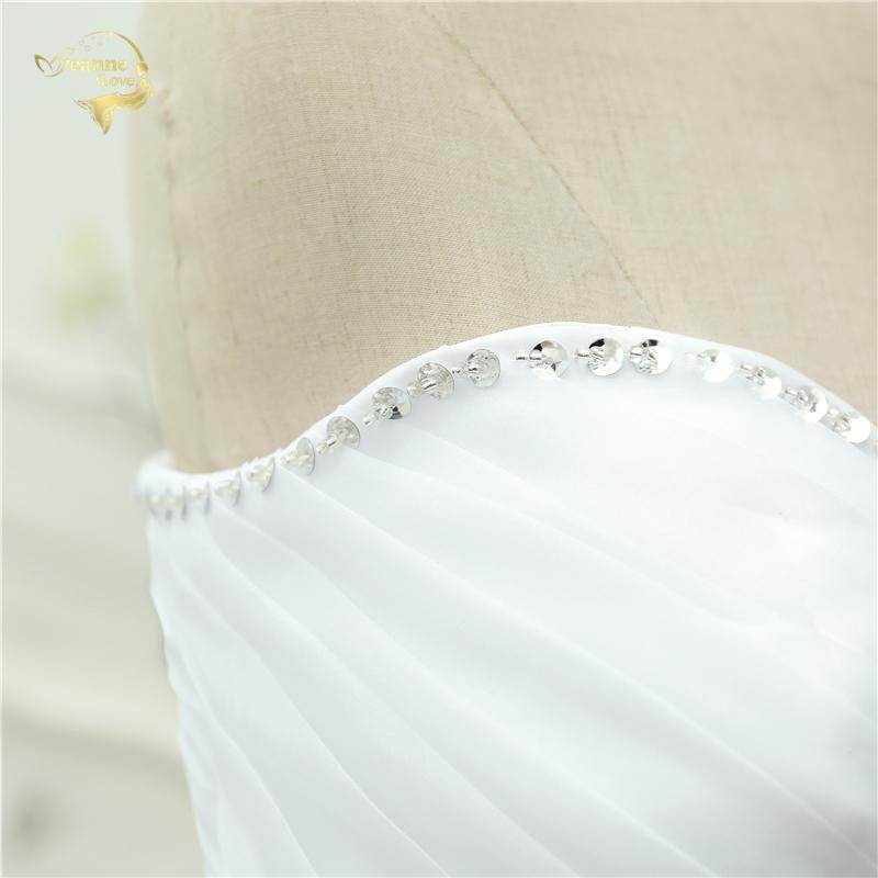 Vestido De Noiva 2017 New Shiny Organza Women Bride Sweetheart Beading Front Short Back Long White Ivory Wedding Dresses OC3399 8