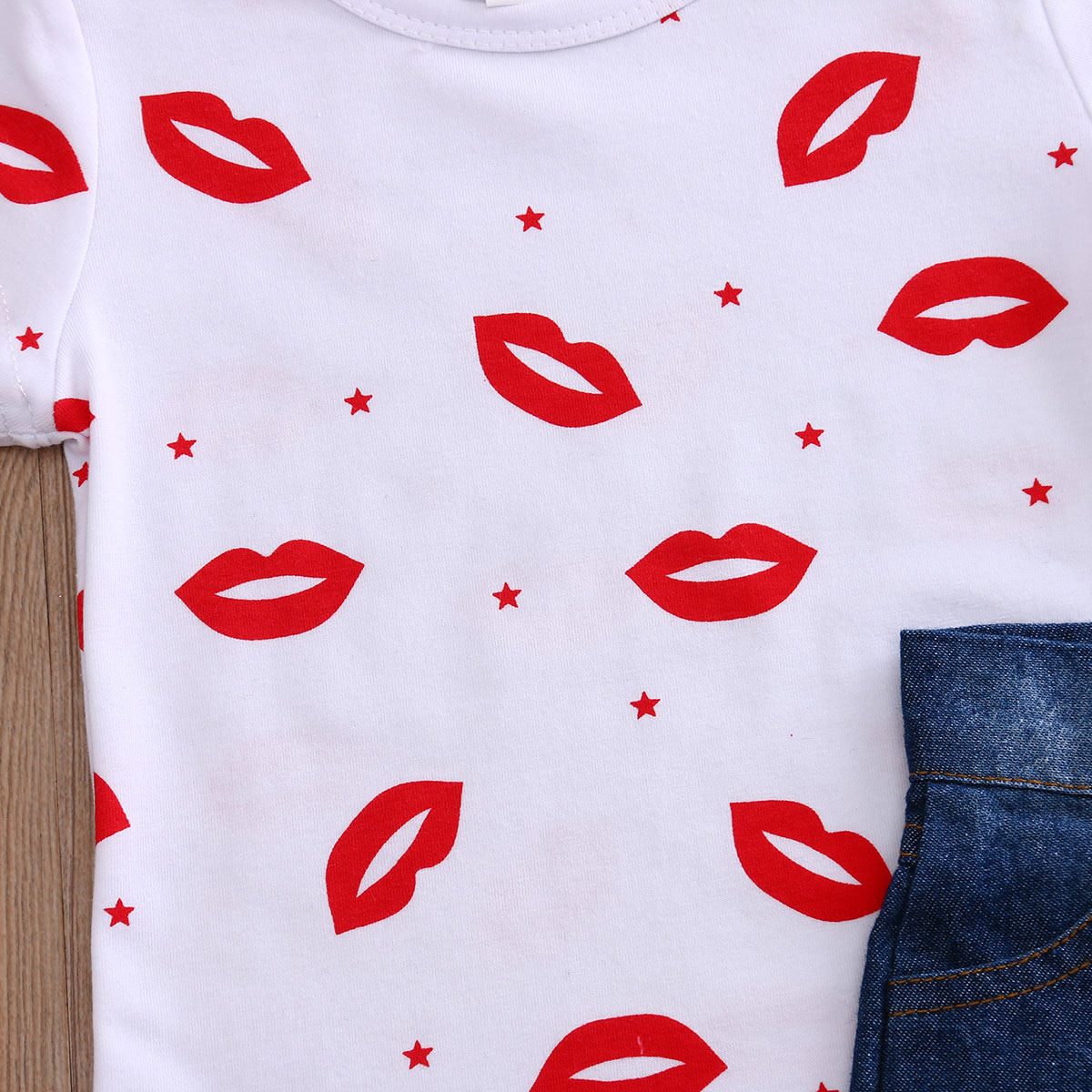 Baby Girls Clothes Set Short Sleeve Lips Print T-Shirt Tops Jeans Shorts Summer Kids Children Clothing Costume Outfits 2Pcs