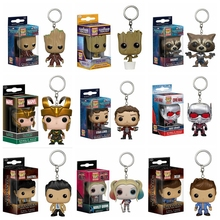 Marvel FUNKO POP Official Loki Anti-Man Harley Quinn Pocket Keychain Dancing Groot Super Natural Hunt PVC Vinyl Collection Toys
