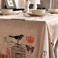 New Cotton linen Table Cloth tablecloth dinner Mat Cover American birds printed style  kitchen Dec wholesale FG217-6