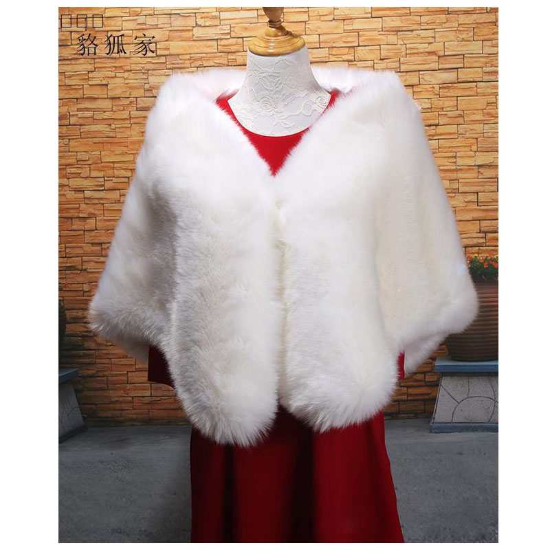 2018 New Arrival Wedding Warp Faux Shawl Winter Long Faux Fur Wrap Bridal Jackets White Long Bridal Shawl Gowns Cloak ZKG09