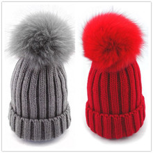 Bnaturalwell Children Winter Fox Fur Hat For Girls Boys Real Fur pompoms Ball Baby Warm Beanies Cap Kids Knitted Pompom Hat H045