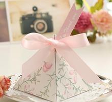 High Quality Pink blue yellow gold 2017 New triangular flower creative ribbon paper favor box wedding candy box
