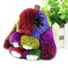 Free Shipping 13CM Genuine Rex Rabbit Fur Keychains Pendant Bag Car Charm Tag Cute bunny Key chain Toy Doll Real Fur Monster(China)