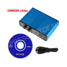 USB 6 Channel 5.1 External Optical Audio Sound Card S/PDIF Laptop PC CM6206