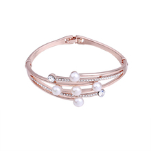 Fashion Rose Gold Color Zinc Alloy Multilayer Charm Bracelet Femme Jewelry Rhinestones Freshwater Pearl Bracelets Bangles Women