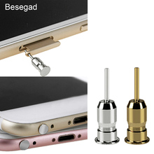 Besegad High Quality Dustproof Anti Dust Plug 3.5mm Earphone Jack Sim Card Needle for Mobile Phone for iPhone 8 7 X 5 6 6S Plus