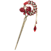 1 Pc Vintage Women Flower Butterfly Hair Stickers Hairpins Hairclip Alloy Rhinestone Barrette  Jewelry Accessories