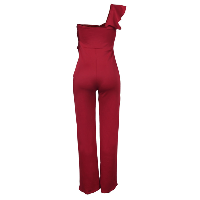 sexy red one shoulder ruffles long jumpsuit-2