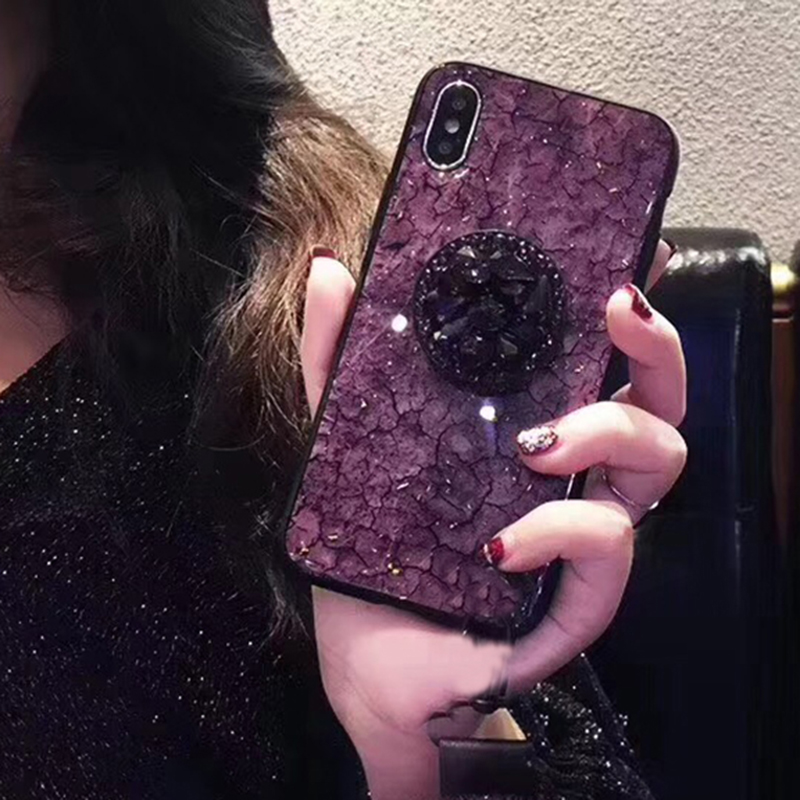 Luxury Diamond Marble Glitter silicon phone case for iphone 7 8 6 6s plus X XR XS MAX holder ring Cover For Samsung S8 S9 Note 9 (4)