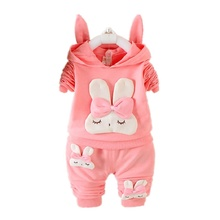 Autumn Children clothing sets girls hoodies cute cartoon rabbit kids sport suits two-piece suit baby girl's clothes sweatshirts(China)