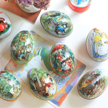 Mini Easter Egg Shaped Painted Eggshell Trinket Tin Candy Box Iron Boxes Party Decoration Children Gifts