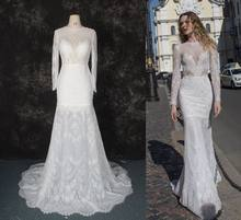 New Gorgeous Long Wedding Dress 2019 High Neck Long Sleeves Court Train Beaded Lace Mermaid Bride Dress Robe de mariage(China)