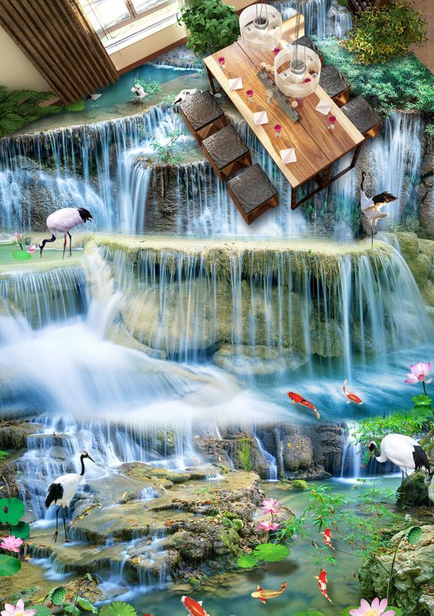 Customized 3d floor wallpaper 3d murals wallpaper waterfall river self-adhesive waterproof wallpaper for 3d floor sticker<br>