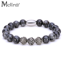 2017 Mcllroy New Design High Quality Black Nature Stone Jewelry Imperial Beads Stretch Energy Yoga Gift Bracelets