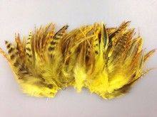 100pcs 4-6 inch yellow rooster feather BARRED ROOSTER GRIZZLY FEATHERS hair extension chicken plumages hat headdress jewelry DIY