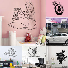 Alice In Wonderland Alice Standing Under Tree Silhouette Mural Art Kids Bedroom Decor Creative Movie Character Wall Sticker
