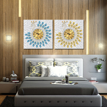 Large Wall Clock Diamond Mosaic Peacock Diamond Wall Clocks Living Room Digital Needlework Wall Home Decoration Clock RK027(China)