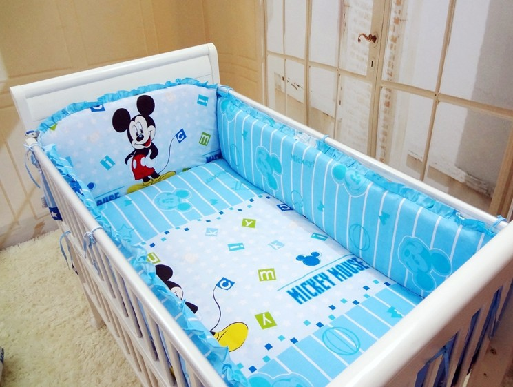 Promotion! 6/7PCS Mickey Mouse Baby Crib Bedding set baby bumper for boys cot set<br><br>Aliexpress