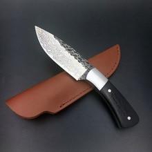 58HRC Straight forged Handmade Damascus Steel pattern hunting knife fixed knife ebony handle leather sheath