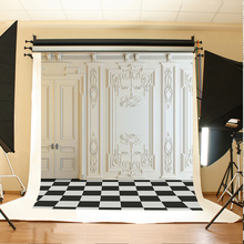 Wedding Background White Wall Digital Printing Background Black and White Lattice Floor Backdrops for Photographic Studio(China)