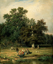 free shipping Russian painter Shishkin figure tree landscape oil painting canvas painting on canvas wall art decoration pictures(China)