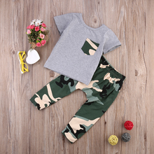 Pasgeboren Baby Kids Jongens Outfits Kleding Babies Zomer Korte Mouw Tshirt Tops + Camouflage Broek 2 stks Outfit Kleding Sets