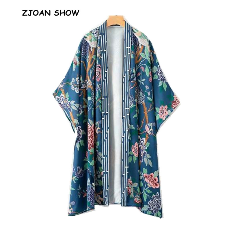 Vintage V neck Bird Flower Print Kimono Shirt 2018 Woman Batwing sleeve Mid Long Loose Faux Silk Blouse Femme Blusas Blue