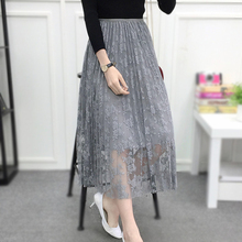 BEFORW Long Skirt Womens Sexy Lace Embroidery Hook Flowers Tulle Pleated Skirts 2017 Spring Summer Casual High Waist Maxi Skirt