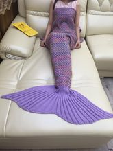 Bedding Sofa Mermaid Blanket Wool Knitting Fish Style Little Tail Blankets Warm Sleeping Bag Child Princess Loves Gifts 90x180cm
