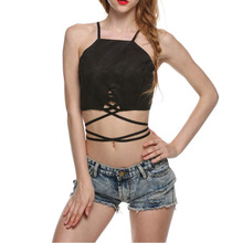 Alishebuy Women Summer Short Top Brown Black Crop Top Front Lace up Sexy Tops For Women Off Shoulder Backless Bandage