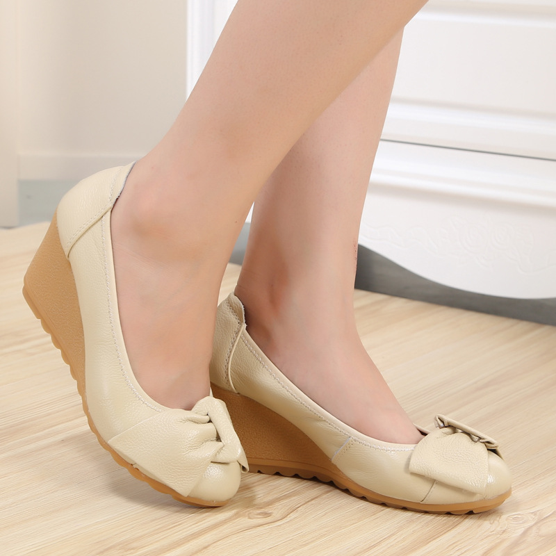 Fashion Bowtie Womens Wedges Shoes Spring Autumn Medium Heel Pumps Women Wedge Work Shoes Moccasins N9302<br><br>Aliexpress
