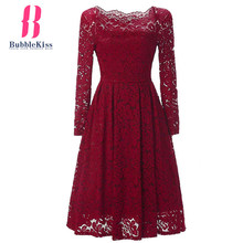 A Line Solid Lace Vintage Dress Autumn Spring Winter Long Sleeve Party Dresses Skater Midi Work Office Dress(China)