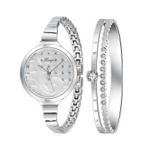 Essential Women Watches Fashion Women Silver Rhinestone Love Bangle Watch And Bracelet Set Hot Marketing Dorp Shipping Hot Sale(China)
