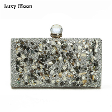 2017 Women Diamonds Evening Bags Beaded Day Clutch Gold Silver Black Evening Clutches Handbags Handmade Bags Purse Wallet ZD475(China)