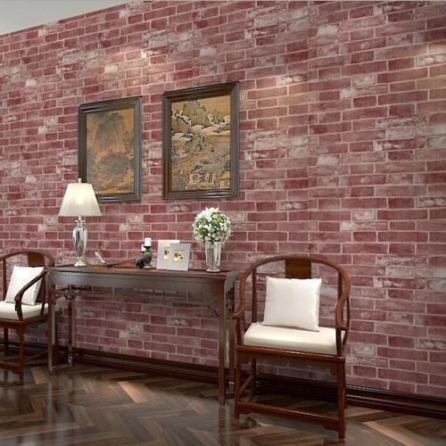Red Brick Wallpaper Vinyl Walls Decor Living Room DZK88 papel de parede simplepapel de parede tijolo<br><br>Aliexpress