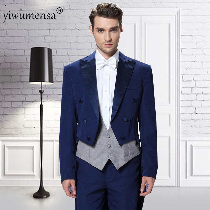 2018 Preppy Style Navy Blue With gray Tuxedo Men's Three Piece Wedding suit Tailcoat & Tuxedo Pants Suits Mens Suits for Wedding