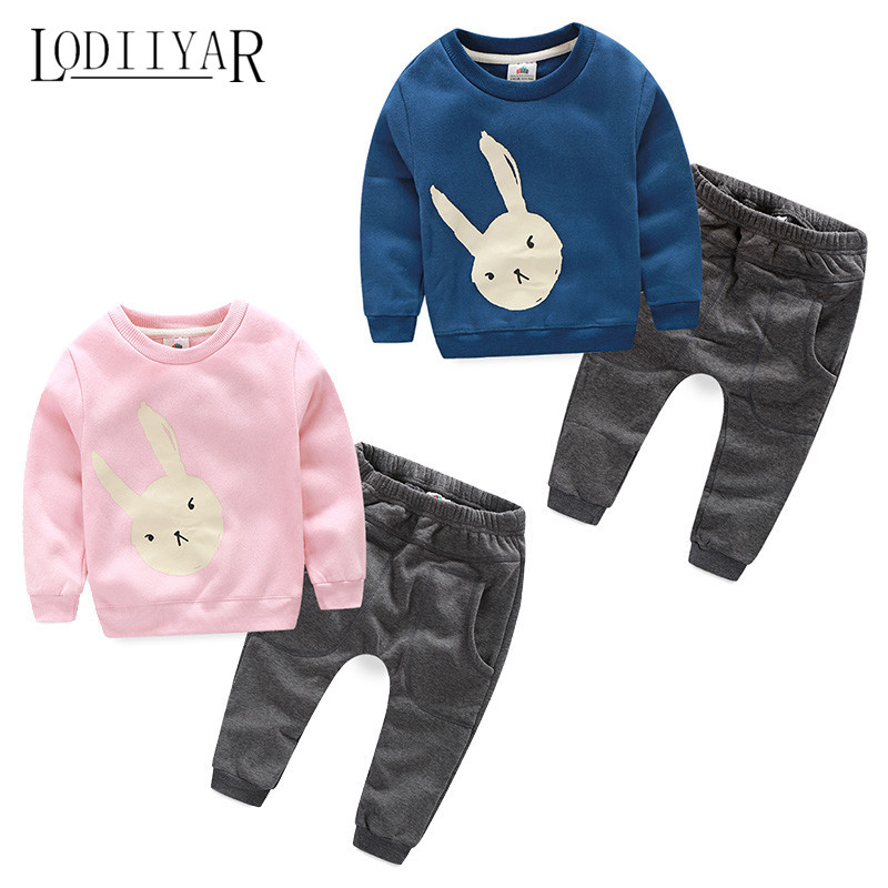 Cartoon Rabbit Thick Children Clothing Set, Autumn Winter Warm Boys Girls O-neck Pullover + Pants, Kid Sports Shirt Trousers <br><br>Aliexpress