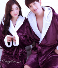 2017 Kimono Lovers Bathrobes with Hat Warm Couple Sleepwear Robe Lady Coral Fleece Nightwear Robes Male Soft Bathrobe Peignoir(China)