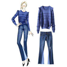 Women fashion ruffle knit tops long sleeve elegant sweater + denim jeans fringe pants suit two piece set new 2017 autumn blue(China)