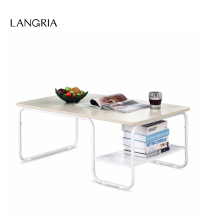 LANGRIA Modern DIY ASSEMBLY Rectangular Tea Coffee Table with Lower Shelf Sturdy Construction Class E1 board Up To 140Kg