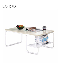 LANGRIA Modern DIY ASSEMBLY Rectangular Tea Coffee Table with Lower Shelf Sturdy Construction Class E1 board Up To 140Kg(China)