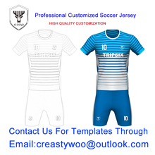 personalised custom dye sublimation polyester blank blue soccer polo jersey shirt(China)